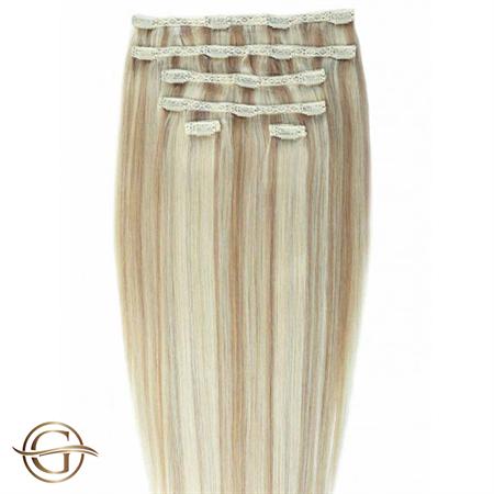 Clip on hair extensions #27/613 Blondemix - 7 sæt - 60 cm | Gold24