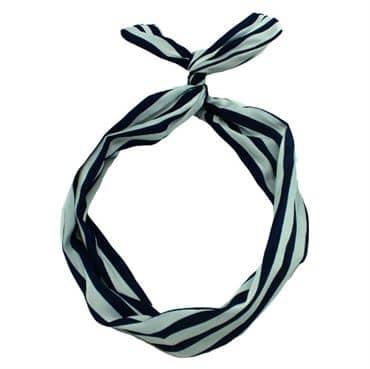 N/A – Flexi hårbånd med ståltråd - blå / hvide striber fra fashiongirl