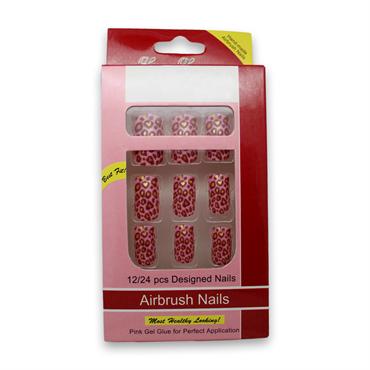 N/A Kunstige negle red leopard no 1 - uden lim på fashiongirl