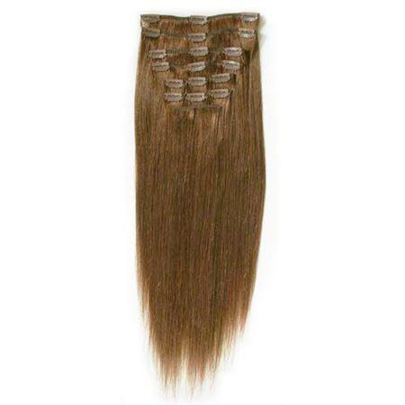 Image of 7set kunstigt fiber hår brun 6#