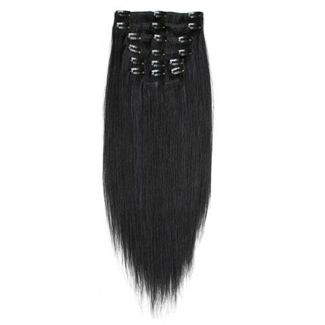 Image of   7set kunstigt fiber hår - Hair extensions Sort