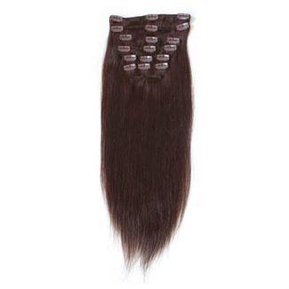 N/A – 7set kunstigt fiber hår mørkebrunt 2# fra fashiongirl