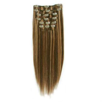 Clip on 65 cm Mix mørkblond 4/27#