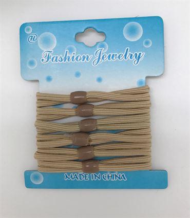N/A Hårelastikker dobbelt beige 6 pak på fashiongirl