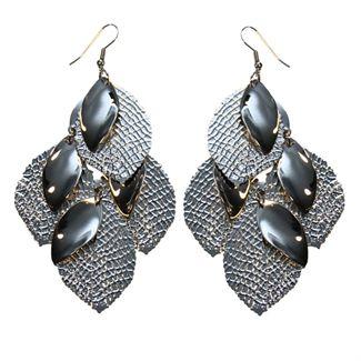 øreringe sæt sølv blad mix fra N/A på fashiongirl