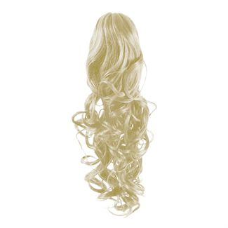Pony tail fiber extensions curly platin blonde 60# fra N/A på fashiongirl