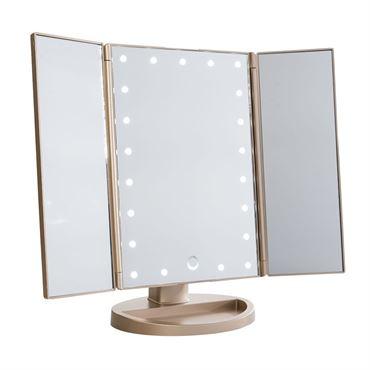 Uniq hollywood makeup spejl trifold spejl med led lys ,rosegold fra N/A fra fashiongirl