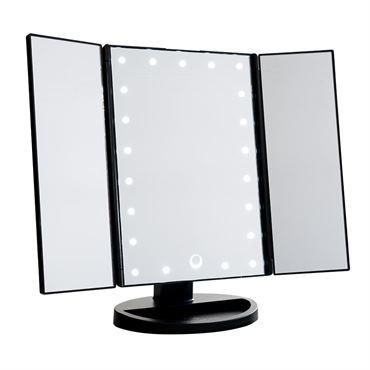 Uniq hollywood makeup spejl trifold spejl med led lys, sort fra N/A på fashiongirl