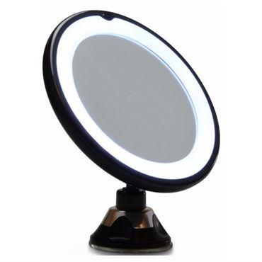 N/A Uniq spejl med led lys og sugekop x10 forstørrelse - sort fra fashiongirl