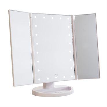Uniq hollywood makeup spejl trifold spejl med led lys ,hvid fra N/A fra fashiongirl
