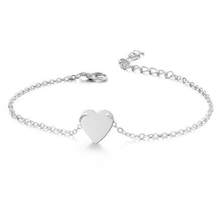 Ankelkæde med hjerte, sølv