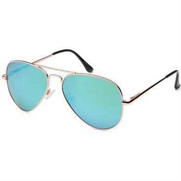 Lux® Aviator Pilot Solbriller - Grønligt Spejlglas med sølvstel