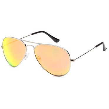 N/A Lux® aviator pilot solbriller - gult spejlglas med sølvstel på fashiongirl