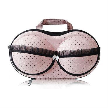 BH taske til opbevaring - Lyserød med sorte prikker