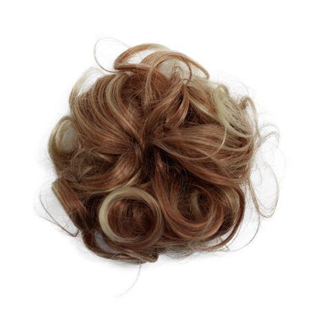 Image of   Messy Bun Hårelastik med krøllet kunstigt hår - Blond/kobber mix