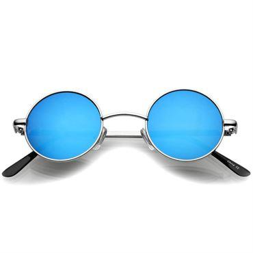 Retro Solbriller -Runde Blue Mirror