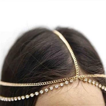 Bohemian Head Chain hovedsmykke i guld og diamanter