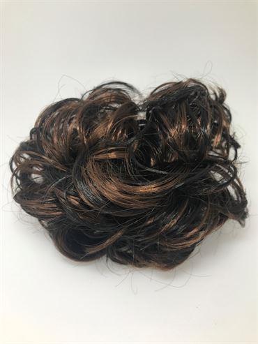 Bun Hårelastik med krøllet kunst hår -Brown/Black Mix