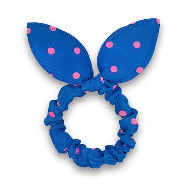 N/A Scrunchie med sløjfe - blå med pink prikker fra fashiongirl