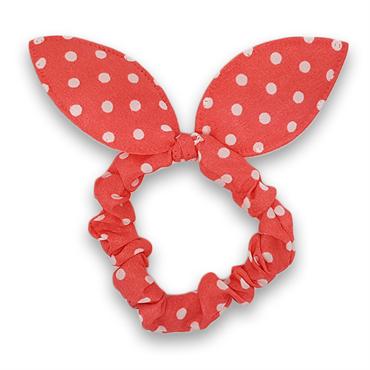 Scrunchie med sløjfe - lyserød med hvide prikker fra N/A fra fashiongirl
