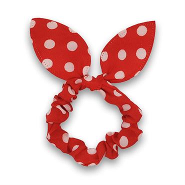 N/A – Scrunchie med sløjfe - rød med hvide prikker fra fashiongirl