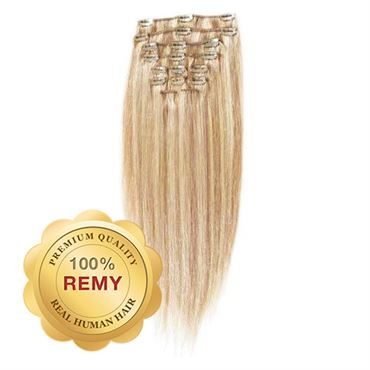 N/A – Clip on extensions - 40 cm #27/613 lysblond mix fra fashiongirl