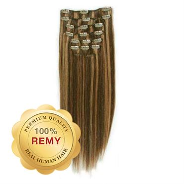 Clip On Extensions - 40 cm #4/27 Brun/ Mellemblond Mix