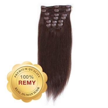 N/A – Clip on extensions - 40 cm #2 mørkebrun fra fashiongirl