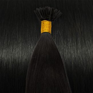 Image of   50 cm Cold Fusion hair extensions farvet Sort 1B#