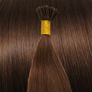Image of 50 cm Cold Fusion hair extensions rød brun 30#