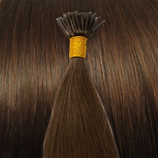 Image of   50 cm Cold Fusion hair extensions brun 4#