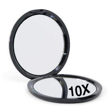 N/A Kompakt dobbeltsidet spejl med 10x forstørrelse - sort på fashiongirl