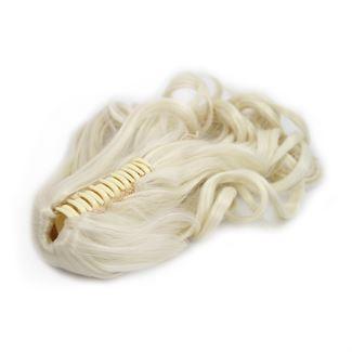 N/A – Ponytail hestehale med hårklemme, curly - lysblond #60 på fashiongirl