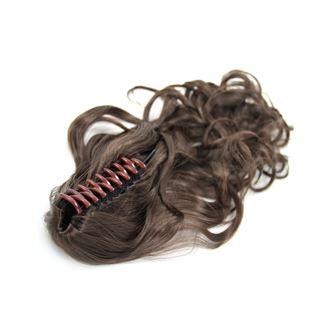 N/A – Ponytail hestehale med hårklemme, curly - brun #4 fra fashiongirl