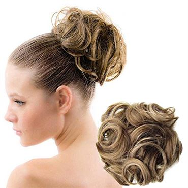 Image of   Messy Bun Hårelastik med krøllet kunstigt hår - Dark Blond Mix