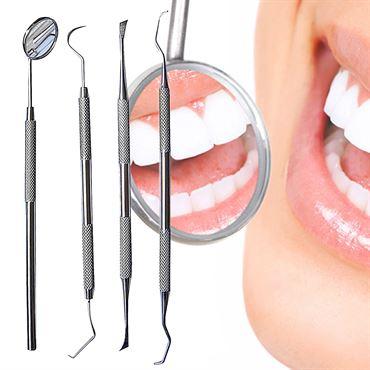 N/A – Tandrensningssæt 4 dele  til dental hygiejne - 1 mundspejl, 2x curette tandrenser, 1 scraper fra fashiongirl