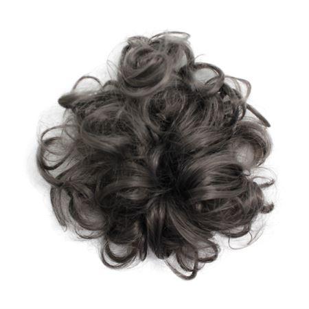 Image of   Messy Bun Hårelastik med krøllet kunstigt hår - Mørkgrå