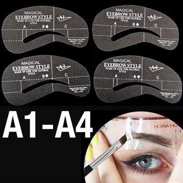 øjenbryns skabeloner - eyebrow stencils (a1-a4) - 4 stk. fra N/A fra fashiongirl