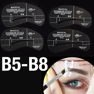 øjenbryns skabeloner - eyebrow stencils (b5-b8) - 4 stk. fra N/A på fashiongirl