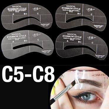 øjenbryns skabeloner - eyebrow stencils (c5-c8) - 4 stk. fra N/A på fashiongirl