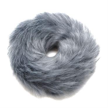 Hårelastik med pels - faux scrunchie, grå fra N/A fra fashiongirl