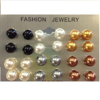 N/A – 12 stk perle øreringe marmor fl. farver på fashiongirl
