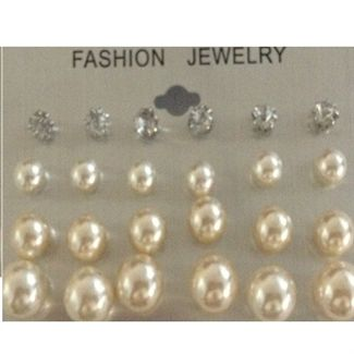 12 stk perle øreringe marmor farve Classic Marmor