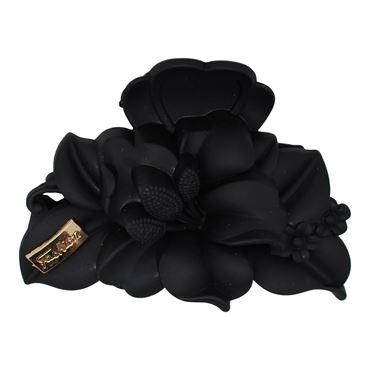 N/A – Deluxe hårklemme model flower 9 cm - sort fra fashiongirl