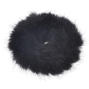 Hårelastik med pels - faux scrunchie, sort fra N/A fra fashiongirl