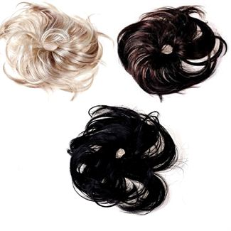 Image of   Messy Bun Hårelastik med syntetisk hår fl. farver