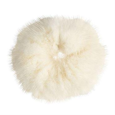 N/A Hårelastik med pels - faux scrunchie, hvid på fashiongirl