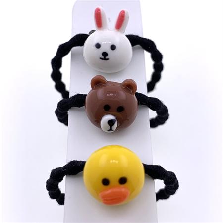 Image of   Hårelastikker til børn 3 stk | Bunny, Bear & Duck