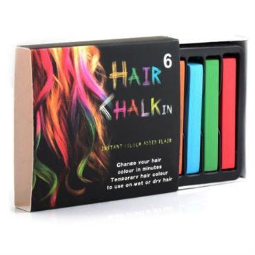 Hair Chalk® pakke m 6 stk hårkridt / farvekridt til håret
