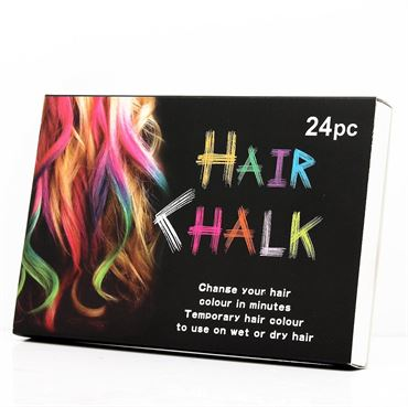 Hair chalk® pakke m 24 stk hårkridt / farvekridt til håret fra N/A fra fashiongirl